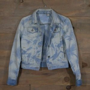🦋 light blue and white marble denim jacket